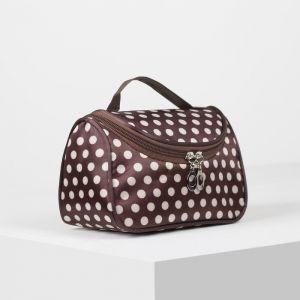 Косметичка-сумка, отдел на молнии, зеркало, цвет белый/коричневый