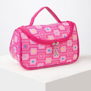 Косметичка-сумочка, отдел на молнии, с зеркалом, цвет малиновый