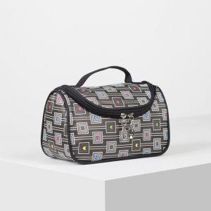Косметичка-сумка, отдел на молнии, зеркало, цвет чёрный