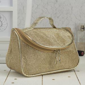 Косметичка-сумочка, отдел на молнии, зеркало, цвет золото