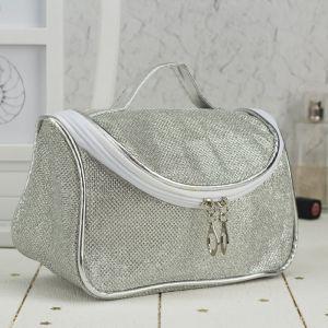 Косметичка-сумочка, отдел на молнии, зеркало, цвет серебро