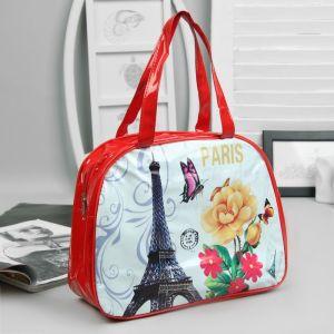 Косметичка-сумочка, отдел на молнии, ручки, цвет красный