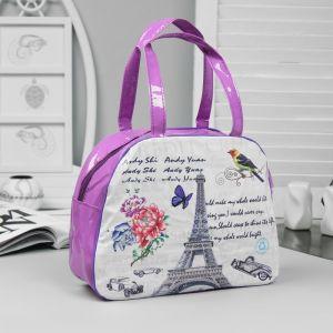 Косметичка-сумочка, отдел на молнии, ручки, цвет сиреневый