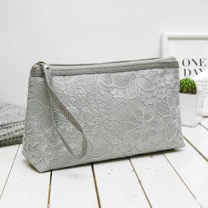 Косметичка-сумочка, отдел на молнии, с ручкой, цвет серый