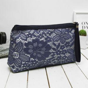 Косметичка-сумочка, отдел на молнии, с ручкой, цвет синий