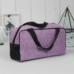 Косметичка-сумочка, отдел на молнии, ручки, цвет фиолетовый