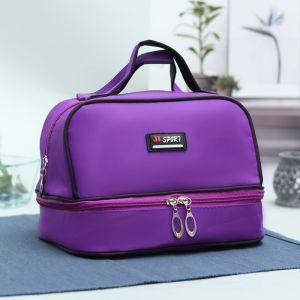 Косметичка, 2 отдела на молниях, цвет фиолетовый