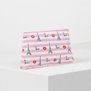Косметичка простая, отдел на молнии, цвет белый/розовый