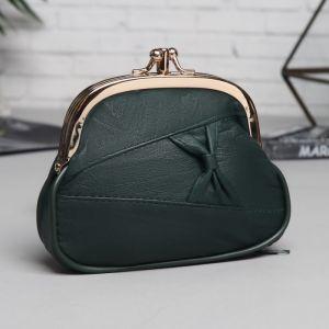 Косметичка-фермуар, 2 отдела на рамке, наружный карман, цвет зелёный