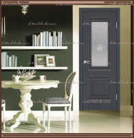 Межкомнатная дверь ALTO 7 Остекленное SoftTouch структурный Ясень графит, стекло - Crystal Glass Ice :