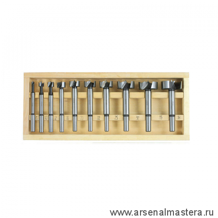 Свёрла Форстнера 6-10-12-16-20-22-26-32-35-38 мм 10шт М00003139