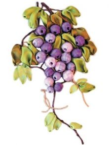 Вышивка лентами «Виноградная лоза» 20x30.
