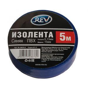 Изолента Rev, ПВХ, 15 мм х 5 м, 130 мкм, синяя 4379708