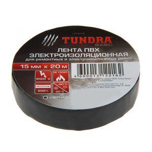 Изолента TUNDRA, ПВХ, 15 мм х 20 м, 130 мкм, черная 1312216