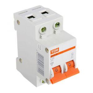 Выключатель автоматический TDM ВА47-63, 2п, 25 А, 4.5 кА 1890623