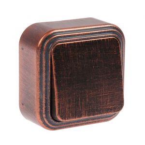 """Выключатель """"Элект"""" VA 16-131-ЧМ, 6 А, 1 клавиша, наружный, цвет черный под медь 4364441"""
