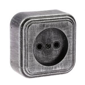 """Розетка """"Элект"""" RA 16-131-ЧС, 16 А, 250 В, одноместная, открытая, без з/к,черная под серебро 4364452"""