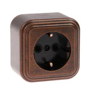 """Розетка """"Элект"""" RA 16-133-ЧМ, 16 А, 250 В, одноместная, открытая, с з/к, черная под медь 4364453"""