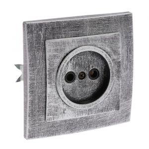 """Розетка """"Элект"""" RS 16-131-ЧС, 16 А, 250 В, одноместная, скрытая, без з/к,черная под серебро 4364461"""