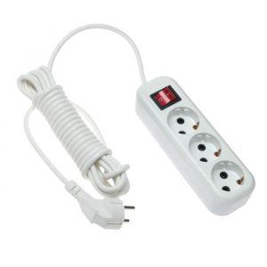 Удлинитель V.I.-TOK У3-Евк, 3 розетки, 2 м, 16 А, с з/к, с выключателем, белый 4506060