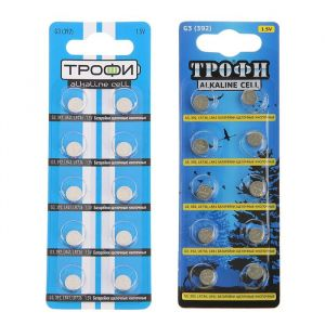 "Батарейка алкалиновая ""Трофи"" Alkaline Cell, G3 (392, LR736, LR41)-10BL, 1.5В, блистер,10 шт. 478936"