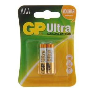 Батарейка алкалиновая GP Ultra, AAA, LR03-2BL, 1.5В, блистер, 2 шт. 1528611