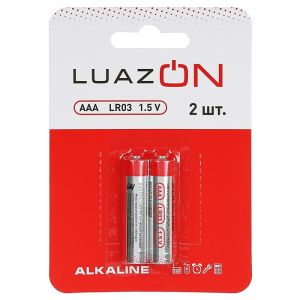 Батарейка алкалиновая LuazON, AAA, LR03, блистер, 2 шт 3005548