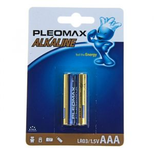 Батарейка алкалиновая Pleomax, AAA, LR03-2BL, 1.5В, блистер, 2 шт. 824029