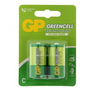 Батарейка солевая GP Greencell Extra Heavy Duty, С, R14-2BL, 1.5В, блистер, 2 шт. 470406