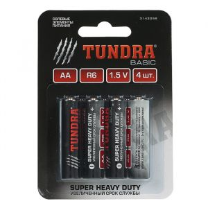 Батарейка солевая TUNDRA Super Heavy Duty, AA, R6, блистер, 4 шт 3142258