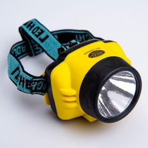 Фонарик налобный, 1 LED, 1 режим, с тремя рёбрами, 3 АА, микс, 7х7 см 1779693