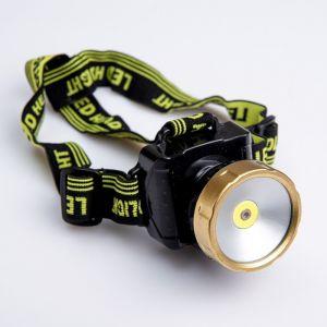 Фонарь налобный, 2 режима, COB лента, лазер, 3 ААА, чёрный, 6х7.5х7 см 3110081