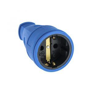 Розетка переносная 16-005, 16 А, 250 В, IP20, с з/к, без заглушки, каучук, синяя 4652077
