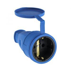 Розетка переносная 16-005, 16 А, 250 В, IP44, с з/к, с заглушкой, каучук, синяя   4652072