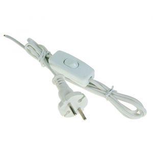 Шнур TUNDRA, 1.7 м, ШВВП 2х0.5 мм2, с выключателем и вилкой, белый 1447526