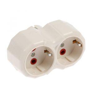 Разветвитель Luazon Lighting, 2 розетки, 16А, с з/к, белый   3813274