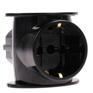 Разветвитель Toker 3T1, 16 А, трехместный, одна розетка с з/к, две без з/к, черный 4363596
