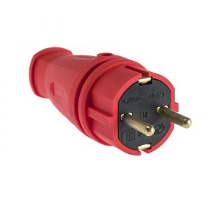 Вилка переносная В16-001, 16 А, 250 В, IP44, с з/к, каучук, красная   4652073