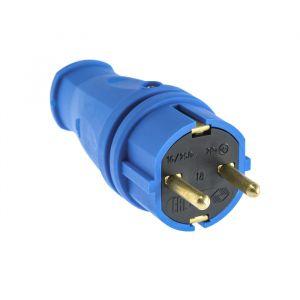 Вилка переносная В16-001, 16 А, 250 В, IP44, с з/к, каучук, синяя   4652074