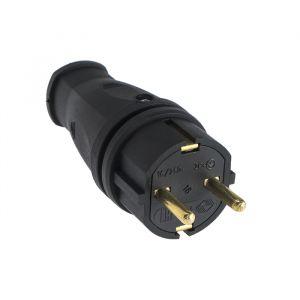 Вилка переносная В16-001, 16 А, 250 В, IP44, с з/к, каучук, черная   4652066