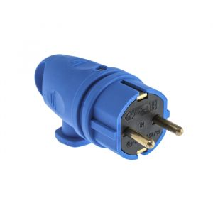 Вилка переносная В16-002, 16 А, 250 В, IP44, с з/к, угловая с кольцом, каучук, синяя 4652069