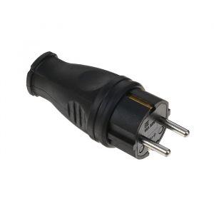 Вилка прямая Smartbuy, 16 A, 230 В, IP44, каучуковая, черный 2475718
