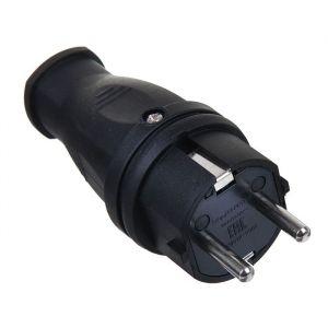 Вилка прямая TDM, 16 А, 250 В, IP44, с з/к, черная 1405601