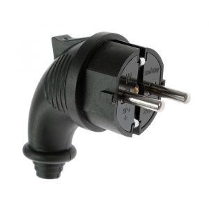 Вилка угловая Smartbuy, 2P+PE, 16 A, 250 В, IP44, каучуковая, черный 2475719