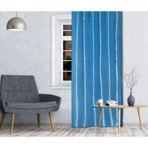 Штора портьерная 143х260 см, тафта, голубой, на шторной ленте, пэ 100%