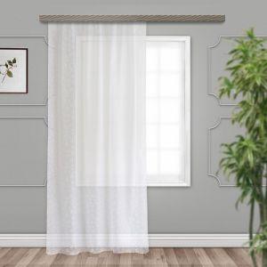 Тюль, размер 150х260 см, тиснение листья, цвет белый, вуаль