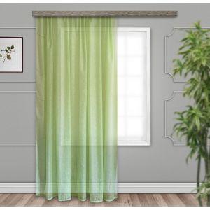 Тюль, размер 150х260 см, тиснение листья, цвет светло-зелёный, вуаль