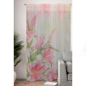 Фототюль Букет розовых лилий 145х260 см, 2шт, пэ 100%   4519286