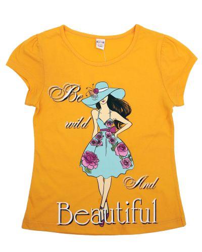 """Футболка для девочек 8-12 лет Bonito """"Beautiful"""" оранжевая"""