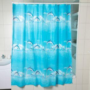 """Штора для ванной 180?180 см """"Дельфины в облаках"""", EVA"""